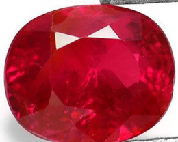 AIGS Certified Burma Ruby, 0.72 Carats, Deep Pinkish Red Oval