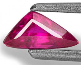 Mozambique Ruby, 0.37 Carats, Bright Pink Red Trilliant