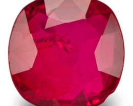 IGI Certified Burma Ruby, 1.06 Carats, Vivid Pinkish Red Cushion