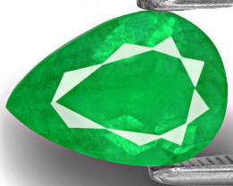 Colombia Emerald, 1.61 Carats, Lustrous Intense Green Pear