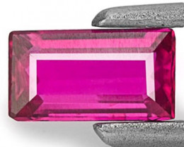 Mozambique Ruby, 0.34 Carats, Fiery Purplish Red Baguette