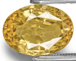 IGI Certified Madagascar Yellow Sapphire, 2.97 Carats, Golden Yellow Oval