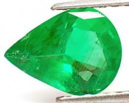 GII Certified Zambia Emerald, 1.50 Carats, Leaf Green Pear