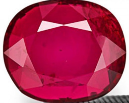 Mozambique Ruby, 2.76 Carats, Deep Magenta Red Oval