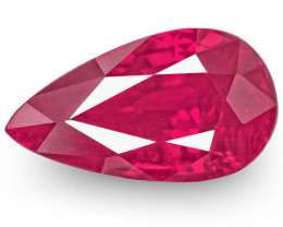 Mozambique Ruby, 1.04 Carats, Bright Velvety Pinkish Red Pear