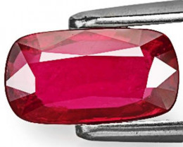 GRS Certified Mozambique Ruby, 2.01 Carats, Purplish Red Cushion