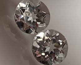 Glittering Silver White Topaz Pair 6.00mm VVS gems -
