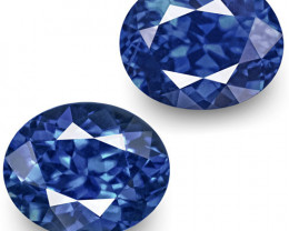 GRS Certified Sri Lanka Blue Sapphires, 2.52 Carats, Vivid Royal Blue Oval