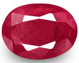 IGI Certified Burma Ruby, 0.73 Carats, Pinkish Red Oval