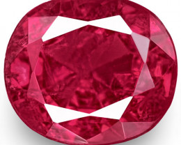 IGI Certified Burma Ruby, 0.62 Carats, Vivid Purplish Red Oval