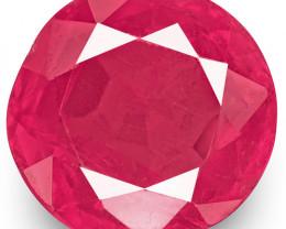 IGI Certified Burma Ruby, 0.83 Carats, Pink Red Round