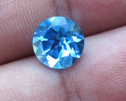 3.14cts Natural Swiss Blue Topaz Round Cut