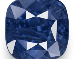IGI Certified Kashmir Blue Sapphire, 4.29 Carats, Deep Blue Cushion