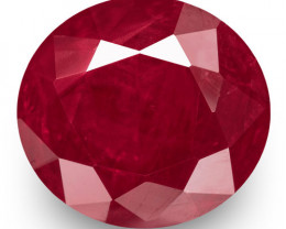IGI Certified Burma Ruby, 1.23 Carats, Rich Pinkish Red Oval