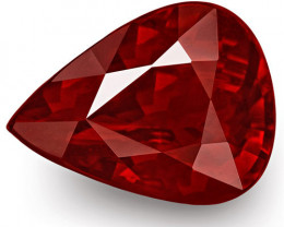 GRS Certified Mozambique Ruby, 3.00 Carats, Pigeon Blood Red Pear