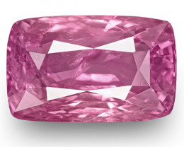 GRS Certified Madagascar Pink Sapphire, 5.18 Carats, Vivid Pink Cushion
