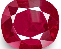 IGI Certified Burma Ruby, 0.91 Carats, Rich Pinkish Red Cushion