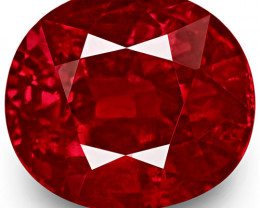 GRS Certified Mozambique Ruby, 2.00 Carats, Vivid Pigeon Blood Red Oval