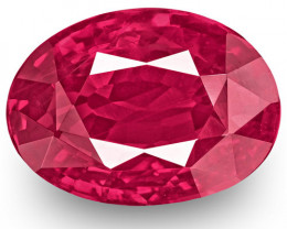 GRS Certified Mozambique Ruby, 2.51 Carats, Lively Pinkish Red Oval