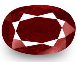 IGI Certified Mozambique Ruby, 1.32 Carats, Intense Pigeon Blood Red Oval