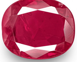 IGI Certified Burma Ruby, 0.89 Carats, Intense Pinkish Red Oval