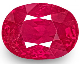 IGI Certified Burma Ruby, 1.31 Carats, Pinkish Red Oval