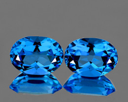 8x6 mm Oval 2pcs 2.95cts Swiss Blue Topaz [VVS]