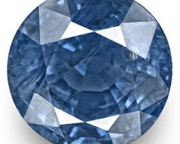 GRS Certified Burma Blue Sapphire, 6.61 Carats, Lustrous Intense Blue Round