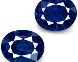 IGI & GII Certified Nigeria Blue Sapphires, 0.94 Carats, Intense Royal Blue