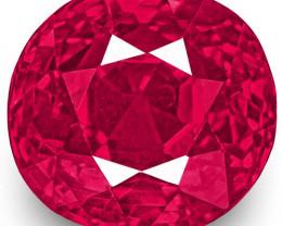 IGI Certified Burma Ruby, 1.10 Carats, Lustrous Vivid Pinkish Red Oval