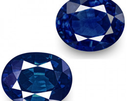 GIA & IGI Certified Nigeria Blue Sapphires, 1.08 Carats, Oval