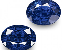 GRS Certified Madagascar Blue Sapphires, 2.46 Carats, Vivid Royal Blue Oval