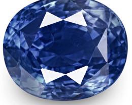 GRS & IGI Certified Madagascar Blue Sapphire, 3.55 Carats, Oval
