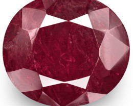 GRS Certified Burma Ruby, 7.38 Carats, Deep Purplish Red Oval