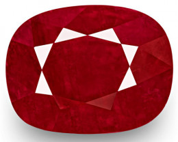 GRS Certified Burma Ruby, 4.79 Carats, Deep Red Cushion