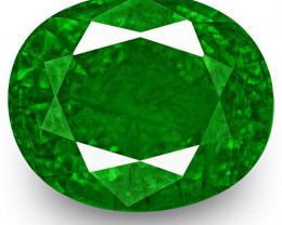 GRS Certified Zambia Emerald, 4.73 Carats, Lively Neon Green Oval