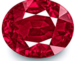 GRS & GII Certified Mozambique Ruby, 4.02 Carats, Fiery Rich Pinkish Red
