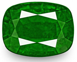 GRS Certified Zambia Emerald, 5.39 Carats, Rich Velvety Royal Green Cushion