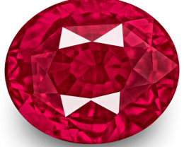 GRS Certified Mozambique Ruby, 4.09 Carats, Lively Vivid Pinkish Red Oval