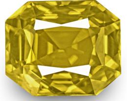 GRS Certified Sri Lanka Yellow Sapphire, 6.46 Carats, Rich Golden Yellow