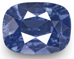 IGI Certified Burma Blue Sapphire, 1.34 Carats, Intense Blue Cushion