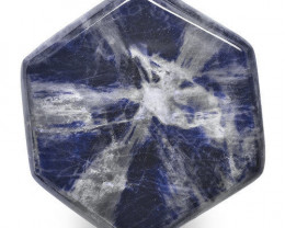 Burma Trapiche Sapphire, 17.93 Carats, Blue Hexagonal
