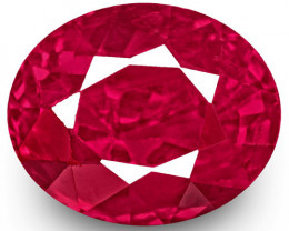 IGI Certified Burma Ruby, 1.77 Carats, Fiery Vivid Pinkish Red Oval