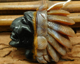 Fancy agate carved american face head pendant (G1183)