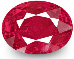 IGI Certified Burma Ruby, 1.77 Carats, Intense Pinkish Red Oval
