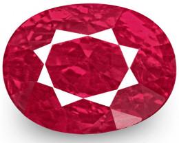 IGI Certified Burma Ruby, 1.50 Carats, Fiery Vivid Pinkish Red Oval