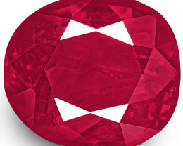 IGI Certified Burma Ruby, 1.47 Carats, Deep Pinkish Red Cushion