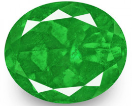 GRS Certified Colombia Emerald, 9.30 Carats, Lustrous Intense Green Oval