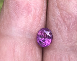 1.27 ct Vivid hot pink sapphire certified unheated Sri Lanka.