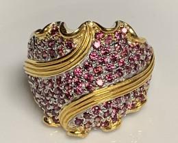 2 rings Pink Rhodolite Garnet Sterling Silver Ring 14kt Gold Size 7.5